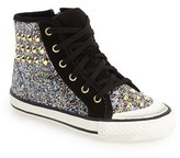 Ash Toddler Girl's 'Lita Monroe' Studded Glitter High Top Sneaker