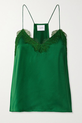 CAMI NYC Lace-trimmed Silk-charmeuse Camisole - Dark green