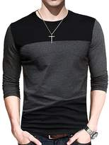 Fighting Men's Contrast Color Stitching Crew Neck Long Sleeve Basic T-shirt O-neck Top (XXXL)