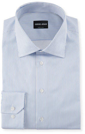 Giorgio Armani Striped Barrel-Cuff Dress Shirt