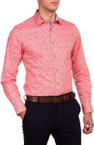 James Harper Gibbons Leaf Group Print Slim Fit Shirt