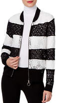I.N.C International Concepts Petite Striped Lace Bomber Jacket
