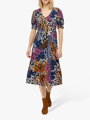 Monsoon Belle Floral Midi Dress, Navy