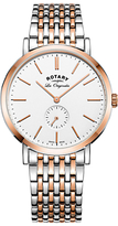 Rotary Gb90191/01 Les Originales Windsor Two Tone Bracelet Strap Watch, Silver/rose Gold