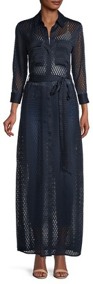 L'Agence Sheer Belted Button-Down Dress