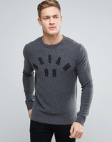 Sisley Crew Neck Dream On Knitted Jumper In Cashmere Mix