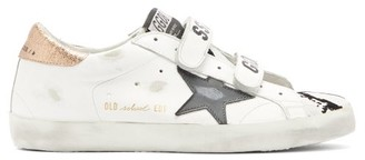 Golden Goose Old School Velcro-strap Leather Trainers - White Multi