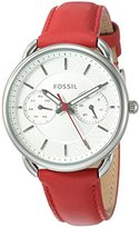Fossil Women's Quartz Stainless Steel and Leather Casual Watch, Color:Red (Model: ES4122)