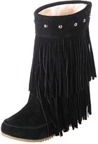 ENMAYER Women's Closed Round Toe Grind Arenaceous Solid Flat Boots With Tassel 10.5 B(M) US
