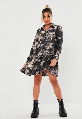 Missguided Petite Black Landscape Print Shirt Dress