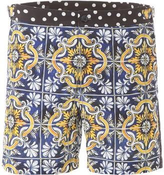 Dolce & Gabbana Maiolica Printed Swim Shorts