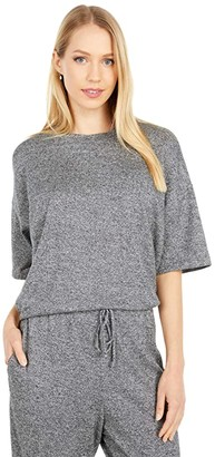 Eileen Fisher Organic Cotton Hemp Melange High Crew Neck Short Sleeve Top (Ash) Women's Clothing