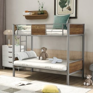 Metal Twin over Full Futon Bunk Bed Mason & Marbles Bed Frame Color: Gray