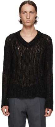 Prada Black Mohair V-Neck Sweater