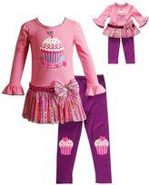 Dollie & Me Girls 4-14 Cupcake Sequin Dress & Leggings Set