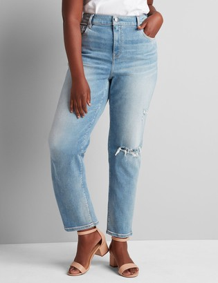 Lane Bryant Signature Fit High-Rise Girlfriend Straight Jean - Light Wash With Destruction