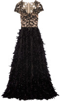 Marchesa Feather-trimmed Embellished Tulle And Chiffon Gown - Black