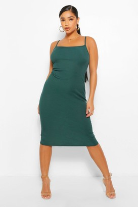 boohoo Plus Rib Square Neck Midi Dress