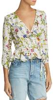 Milly Ruffled Floral-Silk Wrap Top