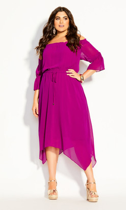City Chic Reflections Dress - magenta