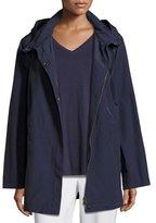 Eileen Fisher Nylon Jacket with Hood, Midnight, Plus Size