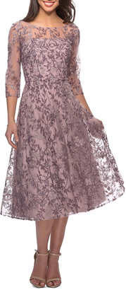 La Femme Floral Lace Illusion 3/4-Sleeve Tea-Length Dress