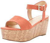 Very Ridge Cork Wedge Sandals In Peach Size UK 6