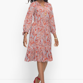 Talbots Split Neck Soft Dress - Sprinkle Paisley