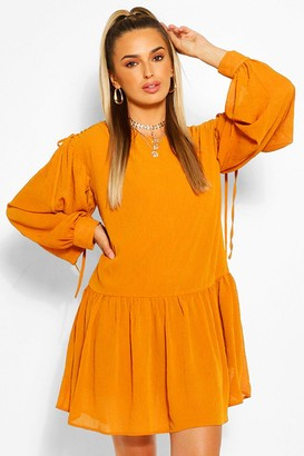 boohoo Rouched Shoulder Drop Hem Shift Dress
