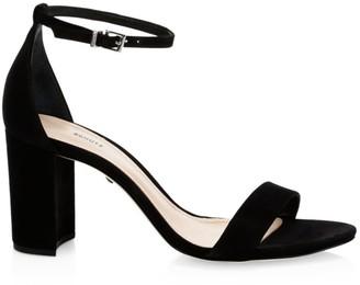 Schutz Anna Lee Ankle-Strap Suede Sandals