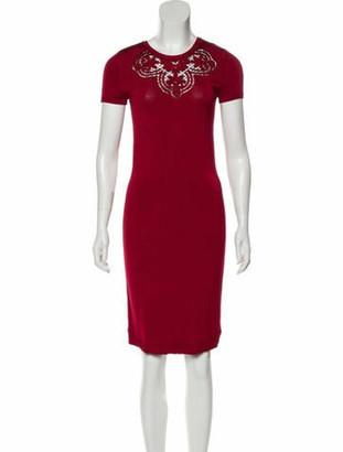 Valentino Crew Neck Knee-Length Dress Red
