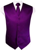 Guytalk Mens Solid Tuxedo Vest Necktie and Handkerchief Set