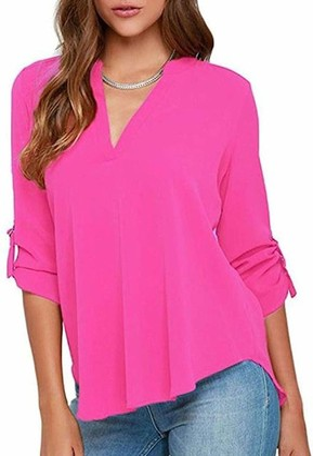 YMING Womens Chiffon Tunic Shirt Baggy Comfy Shirt Solid Color Shirt Light Blue S