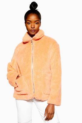 Topshop Womens Borg Zip Through Jacket - Peach
