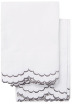 Melange Home Double Scallop Cotton Percale Embroidered Pillowcases (Set of 2)