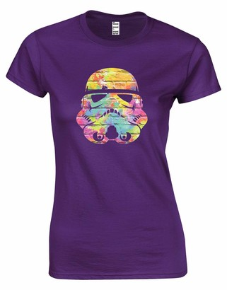 JLB Print Trooper Helmet Wall Colours Space Wars Sci Fi Movie Film Inspired Premium Quality Fitted T-Shirt Top for Women and Teens (Purple / 2X-Large)