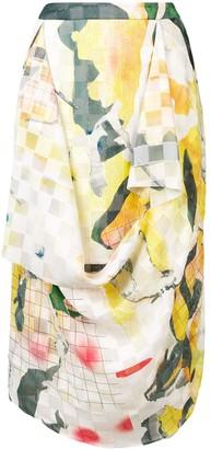 Chalayan Draped Printed Skirt