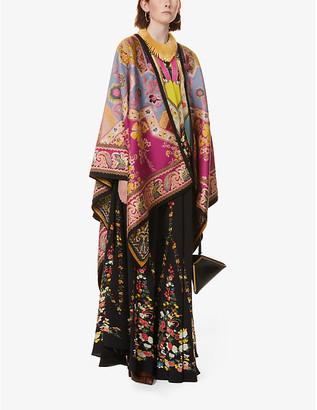 Etro Floral-print wool-blend coat cape