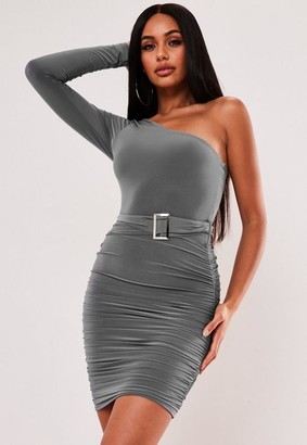 Missguided Slinky Buckle One Sleeve Mini Dress