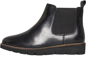Onfire Womens Wedge Sole Leather Chelsea Boots Black