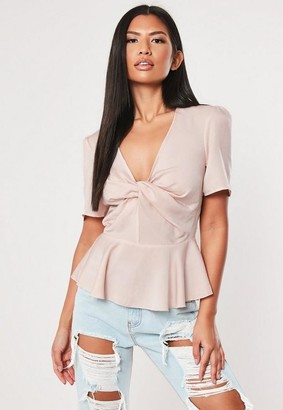 Missguided Twist Front Peplum Blouse