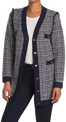 Love Token Parisian Tweed Buttoned Front Cardigan