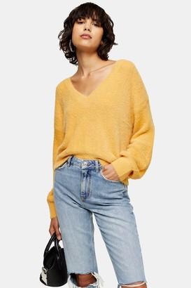 Topshop Womens Mustard Fluffy V Crop Jumper - Mustard
