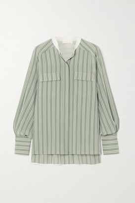 Chloé Striped Silk Crepe De Chine Shirt - Green