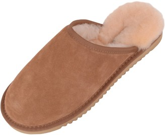 Snugrugs Genuine Unisex Mule Extra Thick Sheepskin Slip on Slippers with Hard Man Made Sole. Chestnut Brown. Size 7