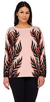 Bob Mackie Bob Mackie's Leaf Silhouette Jacquard Sweater