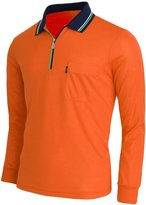 BCPOLO Zip Polo Shirt Athletic Long Sleeve Dri Fit Zip Polo-XS