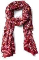 Gap Floral stripe fringe scarf