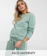 Asos DESIGN Maternity tracksuit sweat / basic jogger with tie with contrast binding in organic cotton
