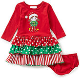 Bonnie Jean Bonnie Baby Baby Girls 12-24 Months Christmas Elf Mixed-Media Dress